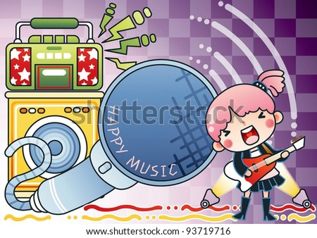 Singing Cute Young Girl and Happy Music Festival on violet background