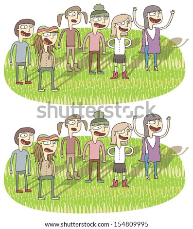 Singing Differences Visual Game. Task: find 10 differences! Solution in hidden layer (vector file only). Illustration is in eps8 vector mode! - stock vector