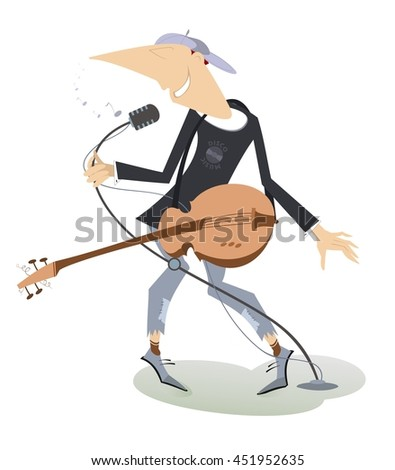 Singing man with guitar. Guitarist is playing music and singing with the great inspiration  - stock vector