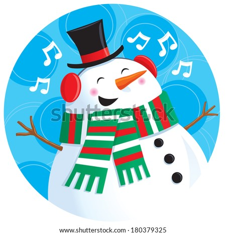 Singing Snowman Wearing Top Hat, Knit Scarf and Ear Muffs - stock vector