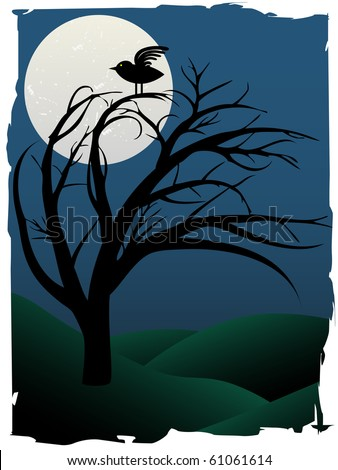 Single Bird Sits on Creepy Curvy Tree at night under full moon surrounded by green hills