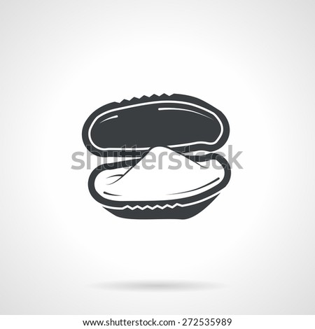 Single black silhouette icon for bivalve oyster on white background. Seafood menu - stock vector