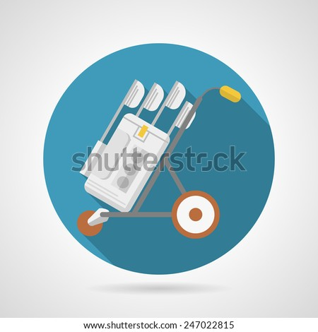 Single blue flat vector icon for hand truck with set golf clubs in bag on gray background. Long shadow design. - stock vector