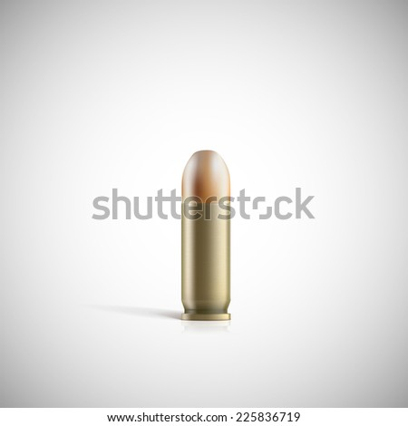 Single bullet. 9 mm bullet on a white background - stock vector