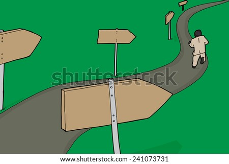 Single businessman running down path with signs - stock vector