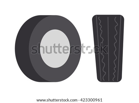 Single car tire isolated and car tire vector illustration. Wheel rubber black tyre auto car tire and car tire automobile detail rim. Shiny heap track car tire. Traction race equipment. - stock vector
