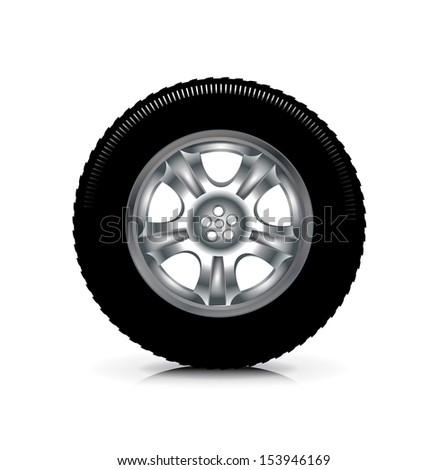 single car wheel isolated on white background