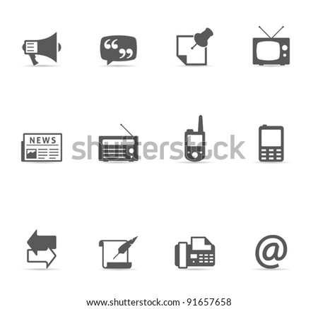 Single Color Icons - More Communication - stock vector