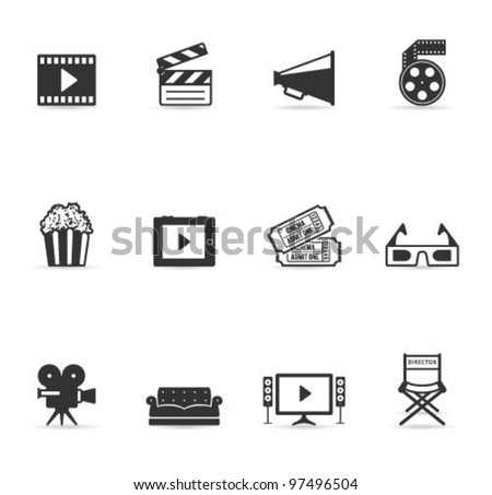 Single Color Icons - Movies - stock vector