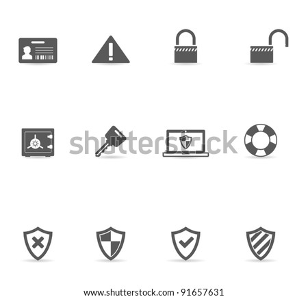 Single Color Icons - Security - stock vector