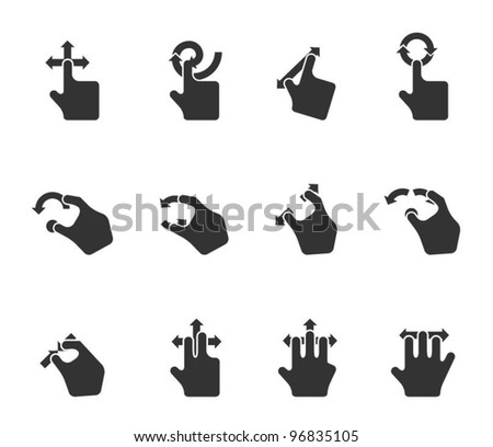 Single Color Icons - Track Pad Gestures - stock vector