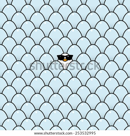 Single Cool White Chick in Sunglasses Surrounded by Identical Blue Eggs - stock vector