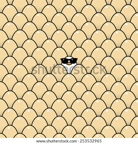 Single Cool White Chick in Sunglasses Surrounded by Identical Brown Eggs - stock vector