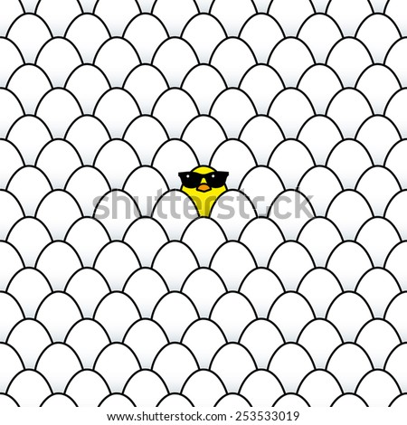 Single Cool Yellow Chick in Sunglasses Surrounded by Identical White Eggs - stock vector