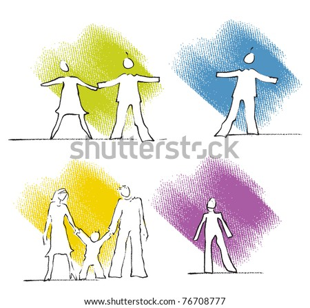 Single, couple, family - people icons, simple freehand linear drawings, colorful - stock vector