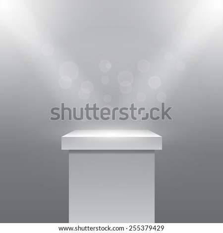 Single empty pedestal or column under the rays projectors. Plinth and stone. Vector illustration - stock vector