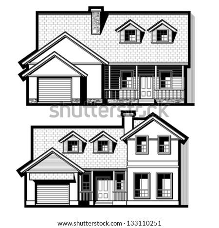 single family house ,vector set - stock vector