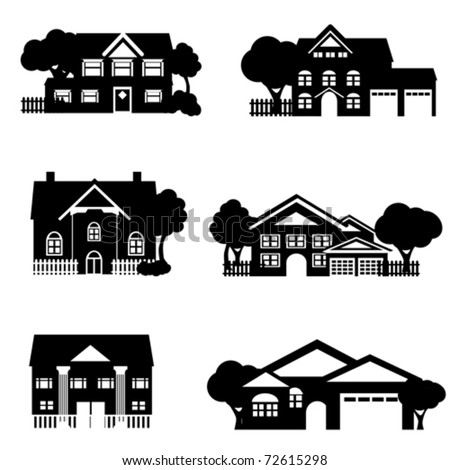 Single family houses in black - stock vector