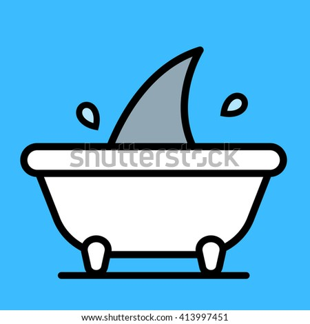 Single flapping and splashing gray colored shark fin sticking up from over edge of white bath tub over blue background - stock vector