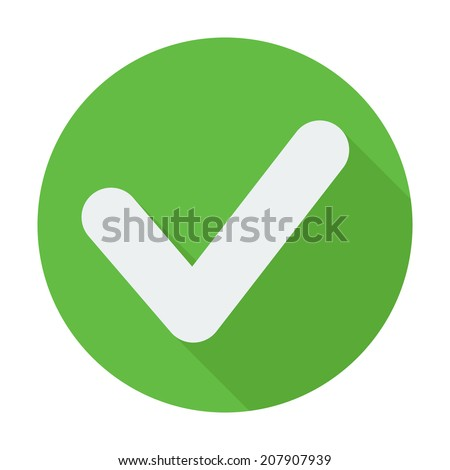 Single flat check mark icon. Flat design style modern vector illustration. Isolated on stylish color background. Flat long shadow icon. Elements in flat design. Easy paste to any background - stock vector