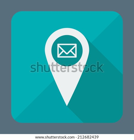 Single flat icon with long shadow. Geo tag mail icon, pin. Button for application. Vector illustration, easy paste to any background - stock vector