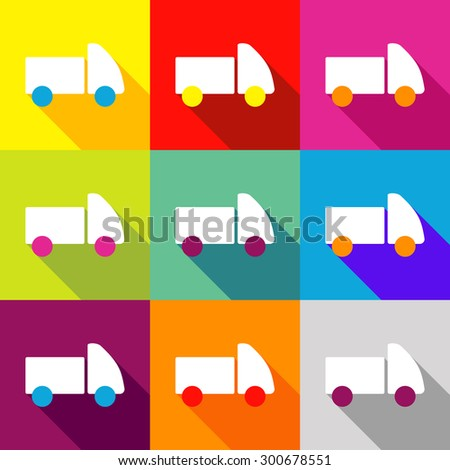 single flat style icon vector image baby car - stock vector