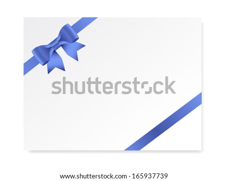 single gift bow of blue color, oblique ribbons on white, vector - stock vector