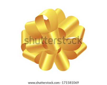 single gold gift bow isolated on white, vector - stock vector