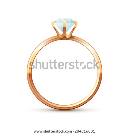 Single gold wedding diamond ring on white background