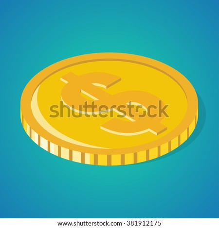 Single golden coin with dollar sign. Isometric vector illustration