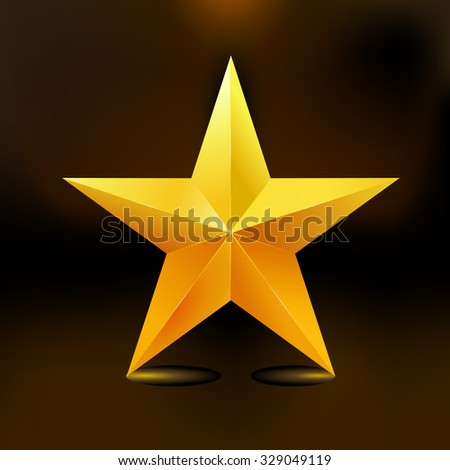 Single golden star shine on dark background.