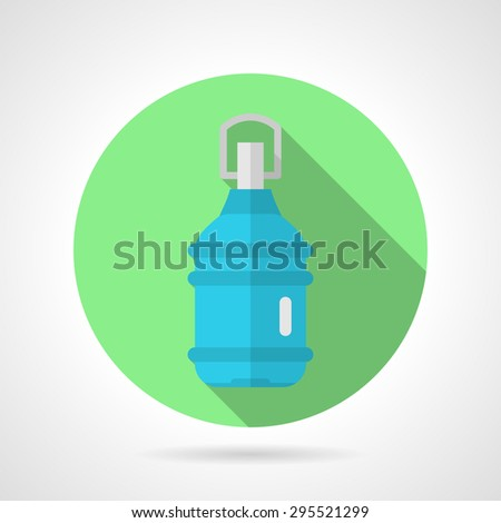 Single green round flat vector icon for full bottle of potable mineral water on gray background with long shadows. - stock vector