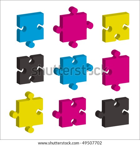 single jigsaw pieces in cmyk colors and 3d effect ideal concept - stock vector