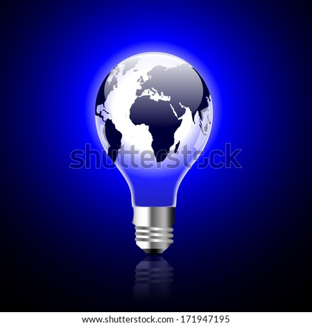 Single light bulb with globe  - stock vector