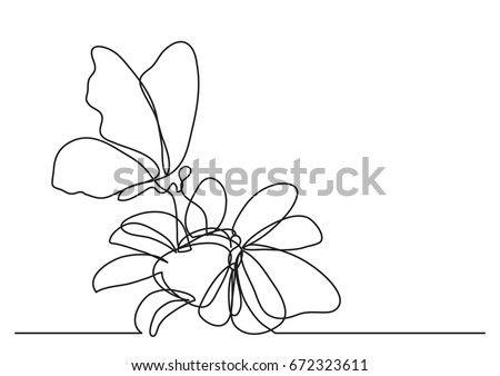 Single line drawing of butterfly and flowers
