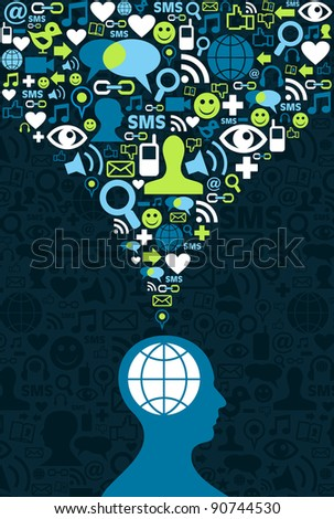 Single man figure conceptual social media communication splash with icon set. Illustration vector background file available. - stock vector