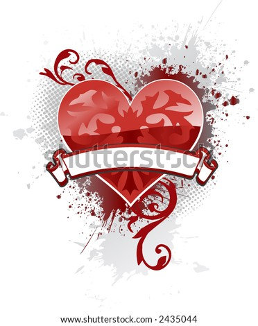 Single ornate heart with a banner to add your text and light gray ink splat background - stock vector