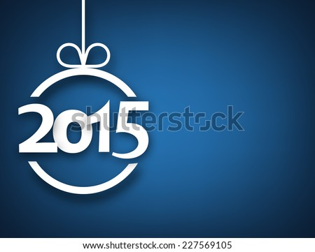 Single paper christmas ball with 2015 new year. Vector illustration.  - stock vector