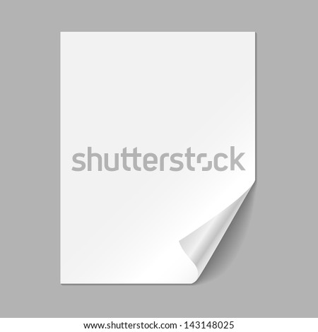 Single Paper Page - Single piece of paper with curling corner, isolated on a gray background.  EPS10 file with transparency. - stock vector