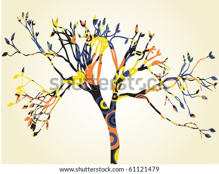 Single Psychedelic Tree Silhouette on tan background vector - stock vector