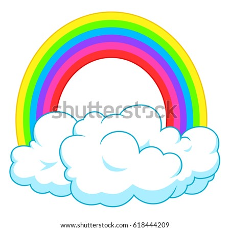 Single rainbow in clouds