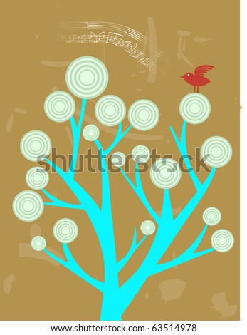 Single Red Bird Singing sitting on top of abstract tree vector illustration