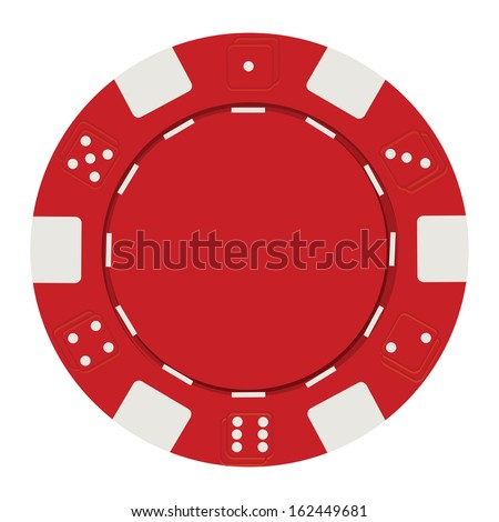 single red casino chip isolated on white background - stock vector
