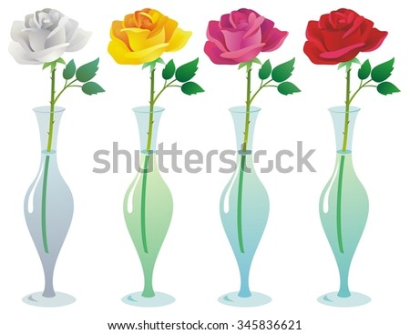 Single rose in a glass vase, four variations - stock vector