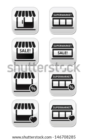 Single shop or store, supermarket vector buttons set  - stock vector