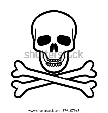 Single simple black and white skull and bones over isolated white background