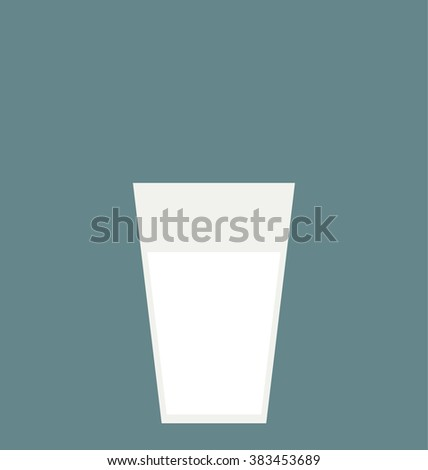 Single simple glass of milk isolated on the blue background. Modern flat design. Big copy space on the top of the image. - stock vector