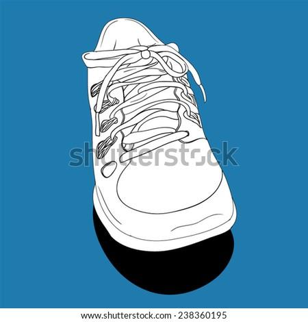 Single Sneaker - hand drawn. Vector Illustration. - stock vector