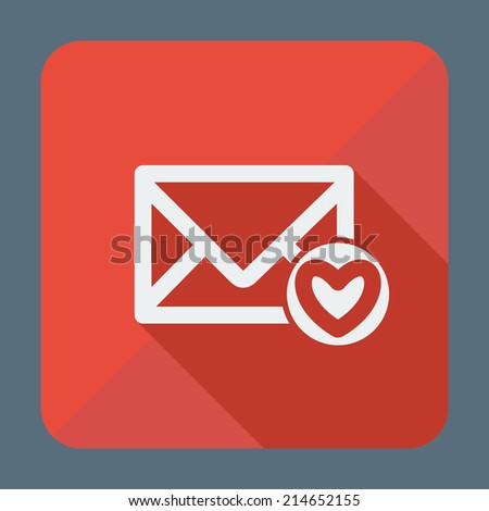 Single square flat icon for web applications, email icons design. Envelope with heart, favorites. Vector illustration. - stock vector