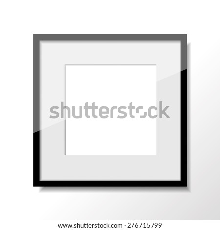 Single square frame in black color hanging on the white wall
